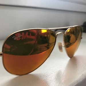Ray-Ban Aviator Flash Lenses - Orange/Gold